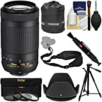 Nikon 70-300mm f/4.5-6.3G VR DX AF-P ED Zoom-Nikkor Lens with Tripod + 3 Filters + Hood + Pouch + Sling Strap + Kit
