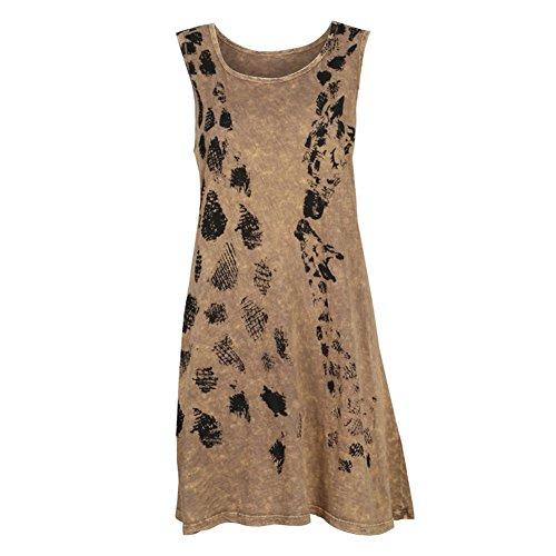 Safari Shirt Dress (Women's Mineral Wash Dresses - Lightweight Earth Tone Tank Top Dress - Giraffe - XL)