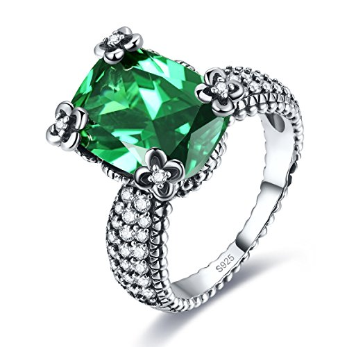 Merthus Antique Style Womens 925 Sterling Silver Created Emerald Millgrain Edged Ring (Created Antique Style Ring)