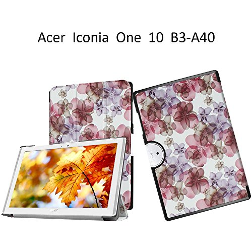 Acer Iconia One 10 B3-A40 Shell Case,Anti-Scratch Flip Case Leather Cover for Acer Iconia One 10 B3-A40 Stand Case,Built-in Stand with Multiple viewing,Colorful flowers