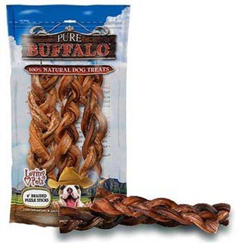 Loving Pets Pure Buffalo 6-Inch Braided Bully Stick Dog Treat, 3-Pack, My Pet Supplies