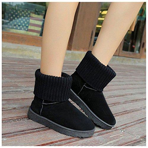 Women Lined 3284Black Warm Boots TAOFFEN Cdwqtaa