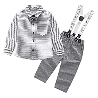 Kimocat Baby Boys 4 pcs Suit Set with Shirt, Jacket, Suspender Pants and Bow Tie Gentleman Tuxedo Formal Wear - Grey - 0-6 months/70