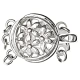 .925 Sterling Silver Flower Filigree 3-Strand Pearl Box Clasp 11mm Connector Switch Bead