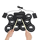 Signstek All in One Mini Electronic Drum Kit Electronic Roll Up MIDI Drum Pad with USB MIDI Connection, Foot Pedals, Drumsticks for Beginners and Children