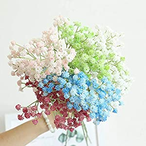 Yinrunx 135 Heads Baby Breath Flowers Artificial Gypsophila Flowers Fake Bouquet Floral for Home Party Wedding Decorations(Blue) 4
