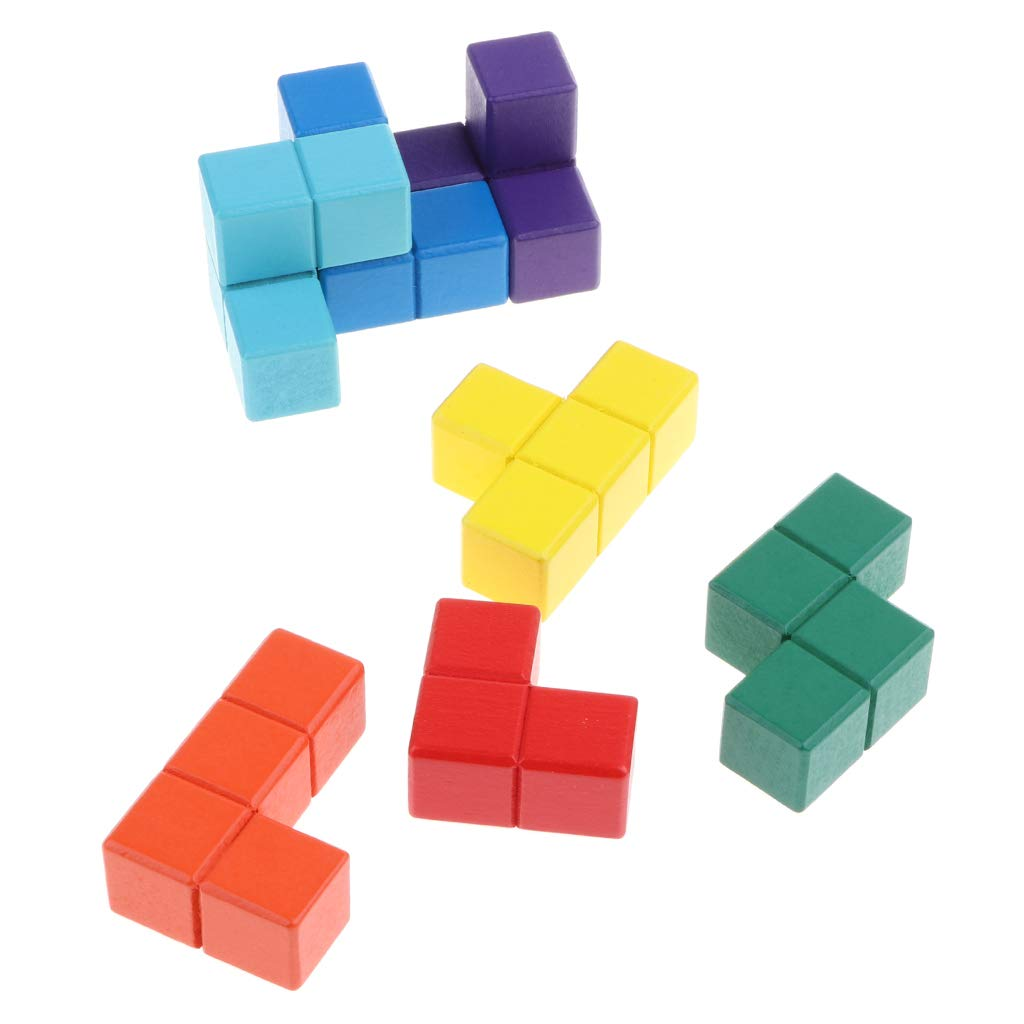 Fenteer Soma en Bois Cube Tetris Puzzle Bo/îte Empiler des Blocs 3D Teaser du Cerveau Jouet