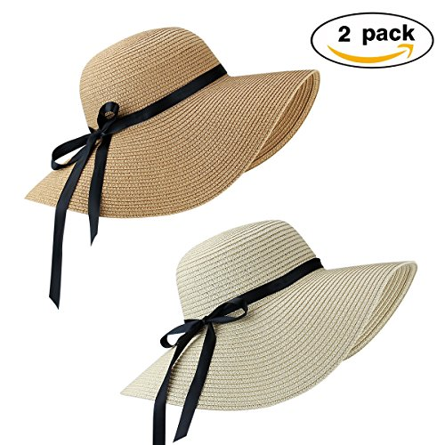 2 Pack Women's Sun Hat Foldable Large Wide Brim Straw Hat Summer Beach Cap UV Protection (Beige and Khaki)