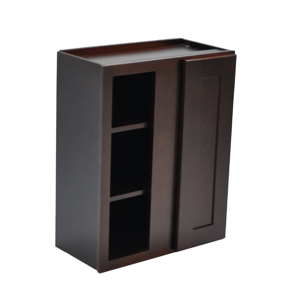 Design House Ready to Assemble 24 in. x 30 in. x 12 Style 1-Door 543256 Brookings Unassembled Shaker Blind Wall Kitchen Cabinet 24x30x12, Espresso