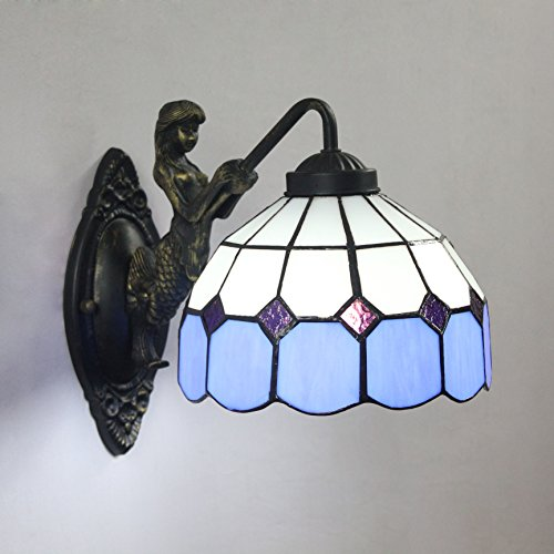8-Inch Mediterranean Tiffany Style Amber Wall Lamp-Blue For Sale