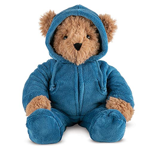 Vermont Teddy Bear Hoodie Footie - Bear Toy Boy and Girl, 18 Inch, Brown, Super Soft