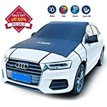 "A-DUDU Premium Car Windshield Snow Cover - Extra Large 81""x73"" Fit for Most Vehicles - Design Protects Windshield and Wipers from Snow, Ice, and Frost Build up - 8 Super Strong Stretchy Rope"