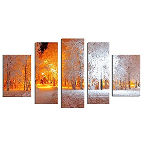 Startonight Glass Wall Art Acrylic Decor Set Soft Light In Park, And A  Contemporary Clock Set Of 5 Total 35.43 X 70.87 Inch 100% Original Artwork  The ...