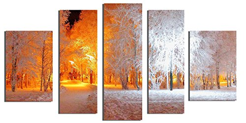 Startonight Glass Wall Art Acrylic Decor Set Soft Light in Park, 5 Stars Gift and a Contemporary Clock Set of 5 Total 35.43 X 70.87 Inch 100% Original Artwork the - Mirror Glass Palm