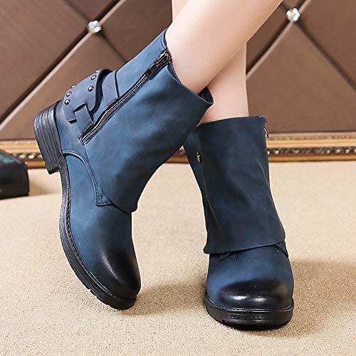 Plat Bottes Fille Zip Chic Ranch Hiver Chaussures Bleu Ronde Faible Boots Façon Unique Femme Bottines Chevalier Tête Automne Robemon♚custom dnB4Hd
