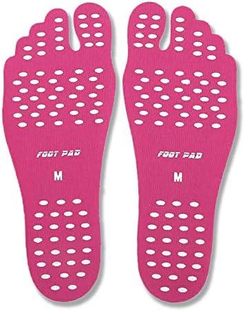 1Paar unsichtbar Strand Barfuß Pads Selbstklebende Fuß Sohlen Aufkleber Wasser Schuhe wasserdicht rosa rose Large