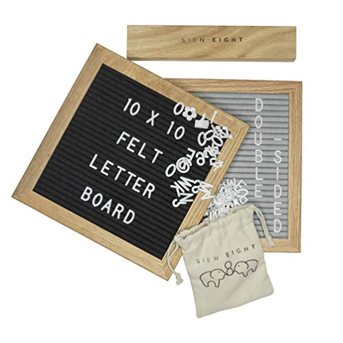 Felt Letter Board Sign by Sien Eight - 10x10 Premium Oak Wood Frame Message Sign with Stand - Double Sided Gray and Black Display - 340 Changeable Pre Cut White Letters Numbers Emojis and Symbols