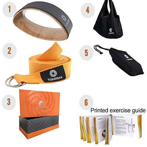 7 Chakras 6 Piece Goose Grey Small Yoga Wheel for Stretching | 8 ft Yoga Stretching Strap & 2 x Cotton Travel Bags | 50 Page Printed Exercise Guide Book | Yoga Gifts