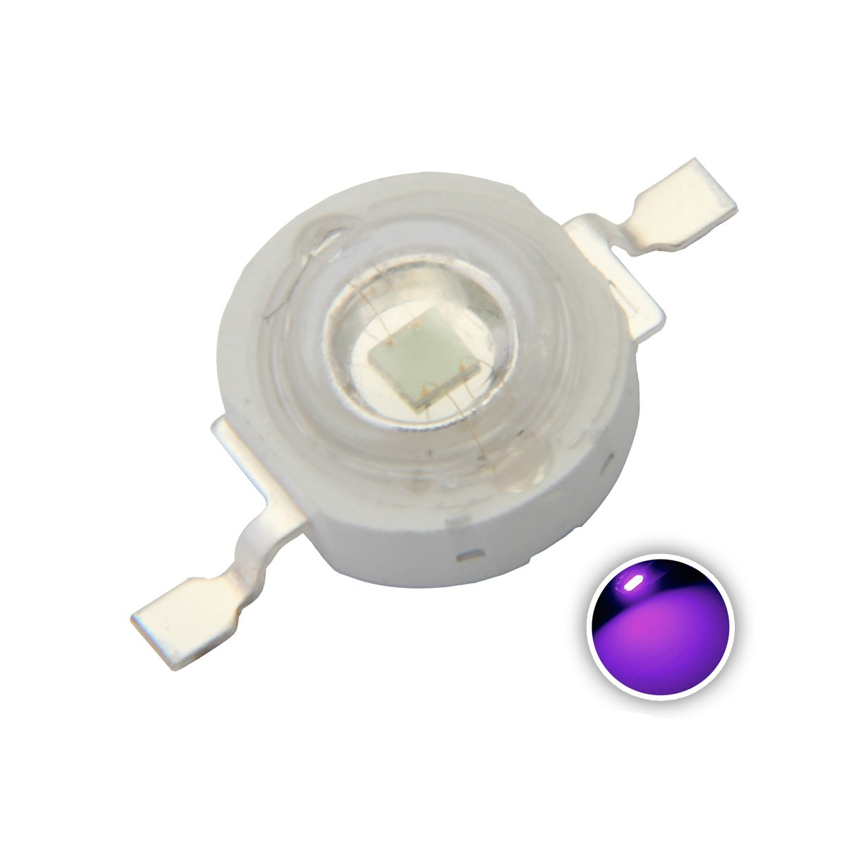 Chanzon 10 pcs High Power Led Chip 3W Purple Ultraviolet (UV 370nm/400mA-500mA/DC 3V-3.2V/3 Watt) SMD COB Light Emitter Components Diode 3 W Ultra Violet Bulb Lamp Beads DIY Lighting