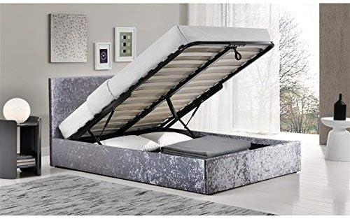 Pequeña cama de matrimonio, otomana, de terciopelo aplastado, con colchón viscoelástico de 25 cm FTA.