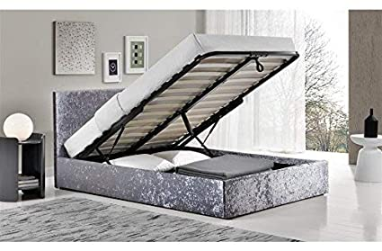 Pleasant Furnituredepot1 4Ft Small Double Crushed Velvet Ottoman Bed With 25 Cm Memory Foam Mattress Fta Alphanode Cool Chair Designs And Ideas Alphanodeonline