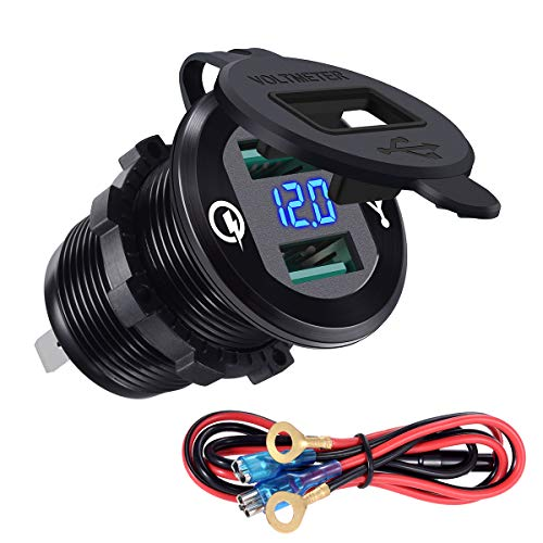 YonHan Quick Charge 3.0 Dual USB Charger Socket, Waterproof Aluminum Power Outlet Fast Charge LED Voltmeter & Wire Fuse DIY Kit 12V/24V Car Boat Marine ATV Bus Truck