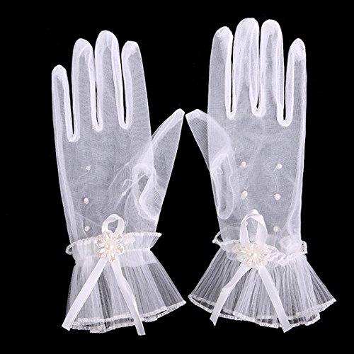 (ボラ-キキ) Bole-kk ウエディンググローブ ブライダルグローブ 花嫁 ショートグローブ ウエディング手袋 結婚式 レース レディース 冠婚葬祭 発表会 パール 可愛い リボン 白
