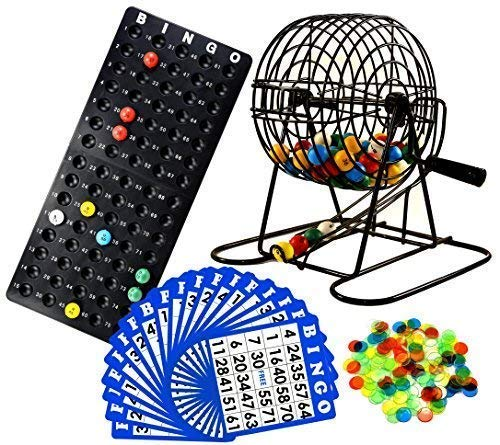Regal Games Deluxe Bingo Cage Game Set - 8 Inch Metal Cage with Plastic Masterboard, 75 Multi-Color Bingo Balls, 18 Bingo Cards and Bingo Chips -