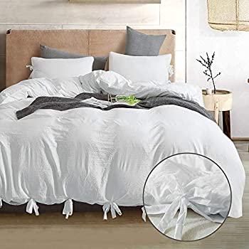 annadaif Giveuwant White Duvet Cover Queen(90x90 Inch),3 Pieces(1 Duvet Cover, 2 Pillowcases) Soft Washed Cotton Bowknot Bow Tie Duvet Cover Set, Easy Care Bedding Set for Men, Women