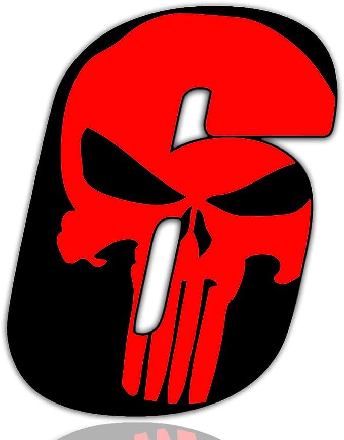 Biomar Labs Startnummer Nummern Auto Moto Vinyl Aufkleber Sticker Skull Schädel Punisher Rot Motorrad Motocross Motorsport Racing Nummer Tuning 6 N 356 Auto