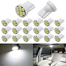 Boodled 20x T10 W5W 501 194 168 LED Wedge Car Light Bulb For Auto Car Interior Light Dashboard Light License Plate Trunk Light 8SMD 3020 Lamp White 6000K~6500k DC 12V (20xT10-1206-8-W)