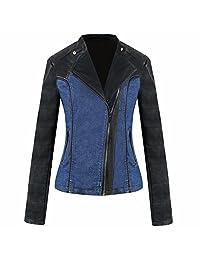 Newbestyle Women Hooded Faux Leather Zipper Motorcyle Jacket
