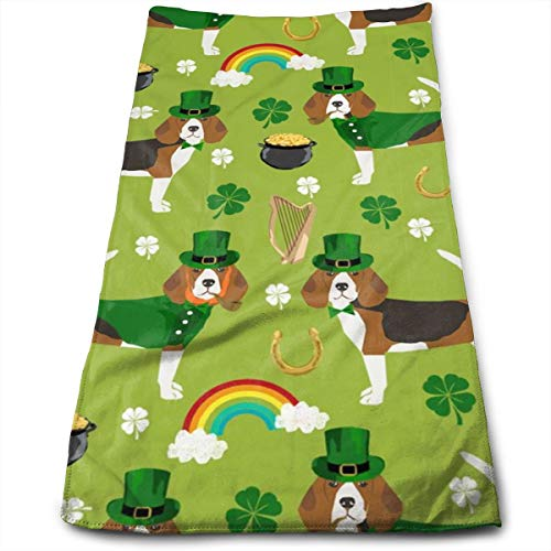 Beagle Leprechaun St. Patrick's Day Dog Breed Green Hand Towels Dishcloth Floral Linen Hand Towels Super Soft Extra Absorbent for Bath,Spa and Gym 11.8