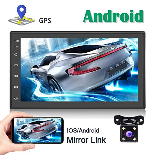 "Android Car Stereo GPS Navigation 2 Din Bluetooth WiFi 7"" Capacitance Touch Screen FM Radio Reciever Mirror Link for iOS/Android Phones with Dual USB with Backup Camera"