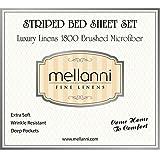 Juego de sábanas para camaMellanni de 4 piezas.De alta calidad. Microfibra cepillada 1800.Juego de cama resistente a las arrugas, decoloración y manchas. Hipoalergénico., Rayas - Beige, Queen