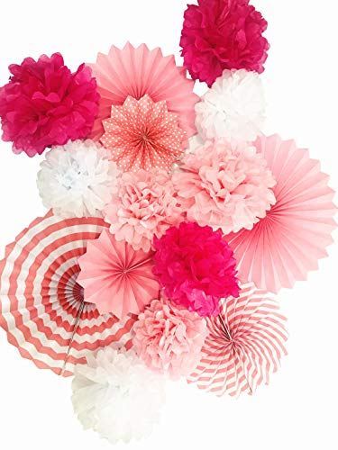 (Pink Paper Fans Wall Decorations Hanging Tissue Paper Pom Poms Flower Party Decor Round Paper Garland Set for Birthday Baby Shower Valentines Day Wedding Events)