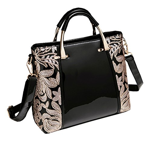 Handbag Fashion Women Himaleyaz Zip High Burgundy Flower Leather Tote Shoulder Sequin Black Bag grade Bag Patent With gttEI