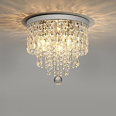 "Hsyile KU300142 Modern Chandelier Crystal Ball Fixture Pendant Ceiling Lamp H9.84"" X W9.84"",For Living room,Bedroom,Aisle,Corridor,3 Lights"