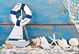 Baocicco 7X5ft Marine Backdrop Buoy Shellfish Conch Fishing Boat Vintage Blue Wooden Board Backdrop Vinyl Photography Background Starfish Sea Fishing Net Navigation Dream Children Birthday Portraits