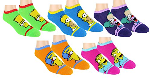 the-simpsons-womens-ankle-no-show-socks-5-pair-multi-color