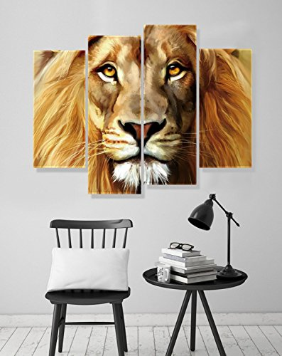 Nuolanart- 4 Panels Large Size Cool Lion Face Canvas Wall Art - Stretched Ready to Hang High Quality Oil Painting Print Modern Art for Decoration -P4S004 by Nuolan Art (Image #2)