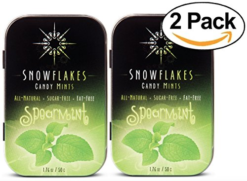 Spearmint Xylitol Candy Chips (2-Pack) - Snowflakes (2) 50g Tins - Handcrafted with ONLY 2 Ingredients   Diabetic-friendly, Non-GMO, Vegan, GF & Kosher   Purest sugar-free candy in the world!