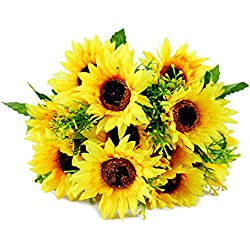 Homeditor Artificial Sunflower Bouquet for Home Decoration Wedding Party Decor Silk Flower with 7 Flowers Per Bunch,2 Bunches Per Pack