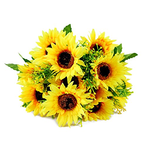 Homeditor Artificial Sunflower Bouquet for Home Decoration Wedding