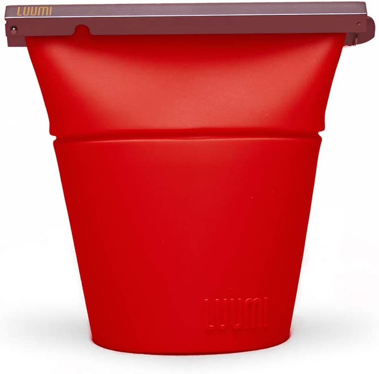 Luumi Unplastic Bowl - Reusable 100% Platinum Silicone Collapsible Food Storage Containers - Microwave, Oven, Freezer and Dishwasher Safe (Red)