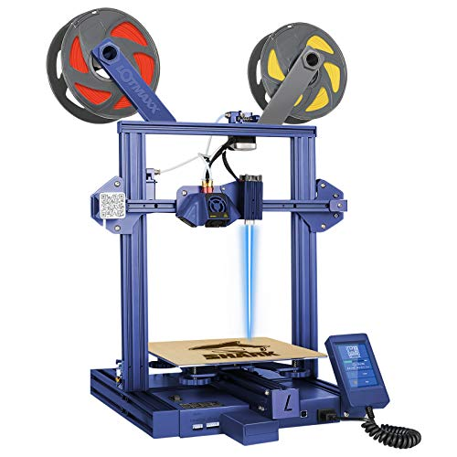 Lotmaxx Shark three-D Printer with Dual Extruder, Two-Color Printing & Optional Laser Engraving 2 in 1, 95% Preassembled Metal three-D Printer Machine, Print Size 235x235x265mm, Blue(Laser Not Included)