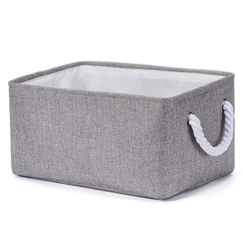 Storage Bin Basket for Organizing Baby Toys, Kids Toys, Baby Clothing, Gift Baskets - Foldable Canvas Fabric Storage Cube Bin (Gray) ()