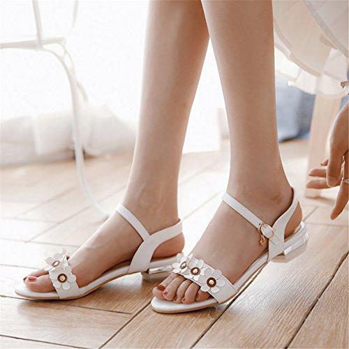 YE Women's Open Toe Flats Sandals Ankle Strap Buckle with Flowers Sweet Shoes White TRBjIJL