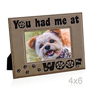 Kate Posh - You had me at WOOF Engraved Leather Picture Frame - Dog Lover Gifts, Birthday Gifts, Christmas Gifts, Pet Memorial Gifts, New Puppy Gifts, Paws and Bones Decor (4x6-Horizontal)