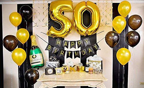 Sterling James Co 50 Happy Birthday Girlande Schwarz Gold Deko